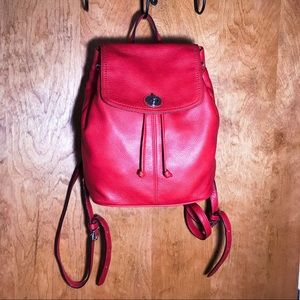 Coach Red pebbled Leather Backpack EUC